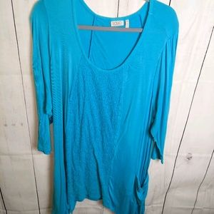 Logo bluish tunic lace and pockets